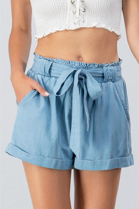 Picture of Premium Chambray Belted Shorts