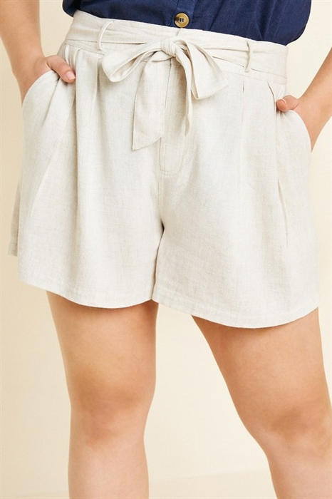 Picture of Curvy Linen Tie Front Shorts