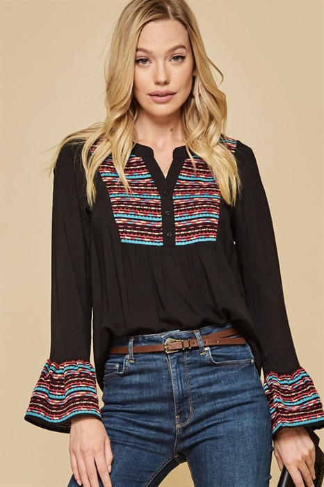 Picture of Curvy Aziza Embroidered Top